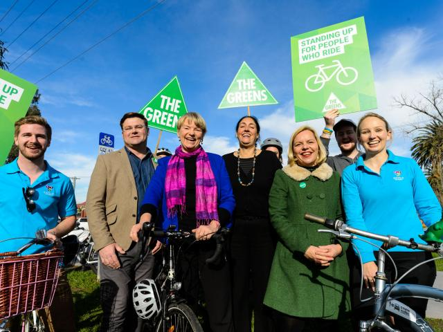 Janet Rice announcing the Greens' cycling policy